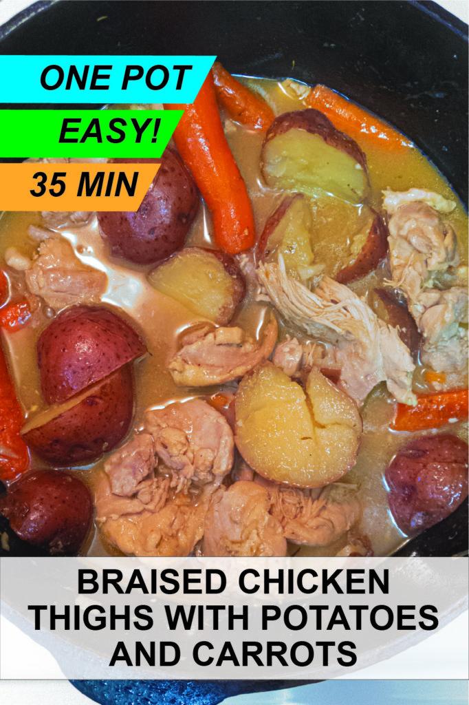 Pinterest image for this super easy one pot boneless chicken thigh recipie