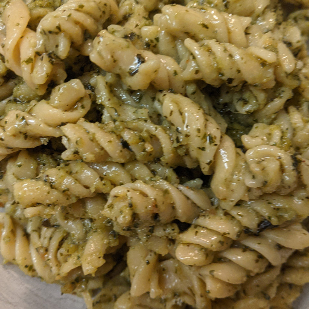 DeLallo pesto sauce on pasta