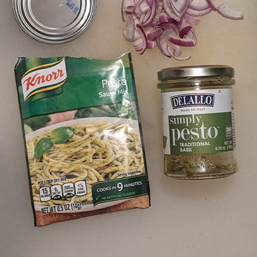 Knorr powdered pesto sauce vs DeLallo jarred pesto sauce